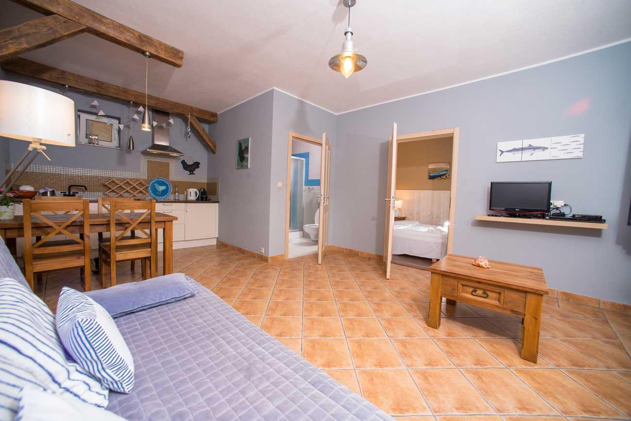 Tani apartament Muszelka widok na wszystkie pomieszczenia Tani apartamentu