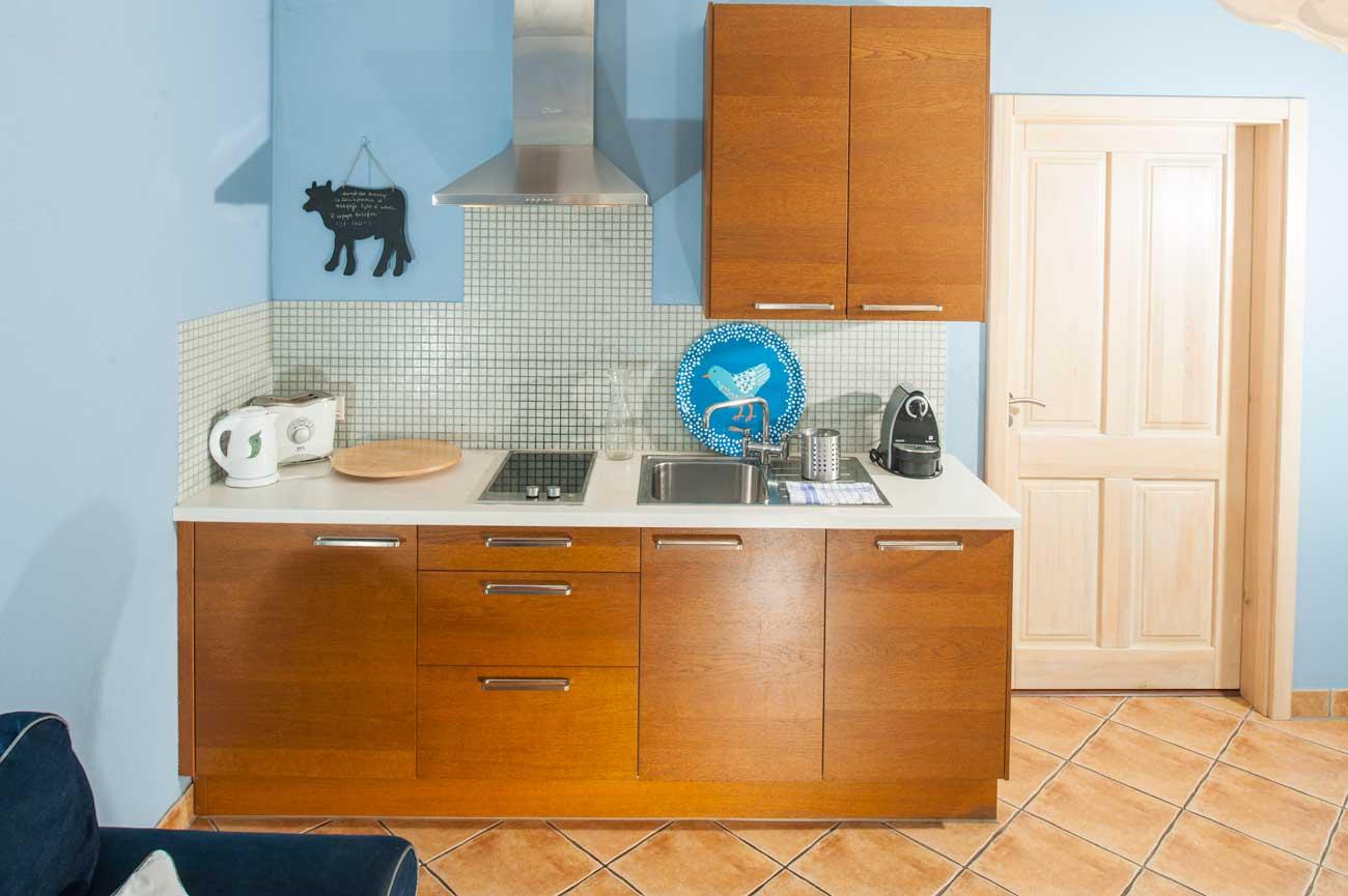 Widok na kuchnię w Apartamencie Pirania , nad morzem